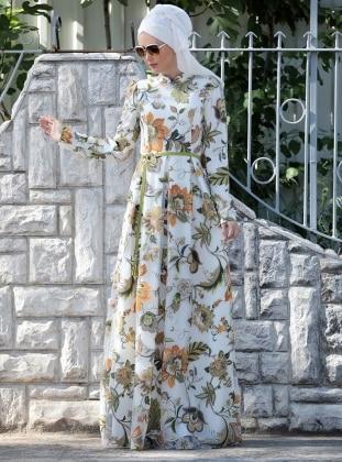 Zambak Desenli Elbise - Turuncu