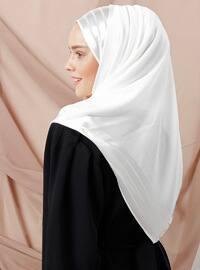 White - Striped - Viscose - Shawl