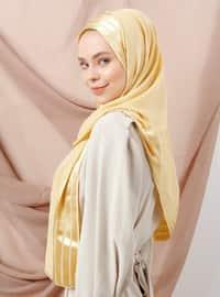 Gold - Striped - Viscose - Shawl