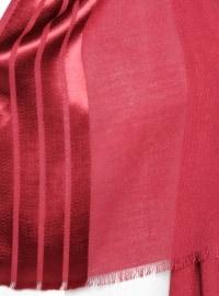 Maroon - Striped - Viscose - Shawl