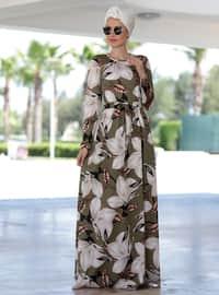 Khaki - Floral - Crew neck - Unlined - Dresses