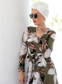 Khaki - Floral - Crew neck - Unlined - Dresses
