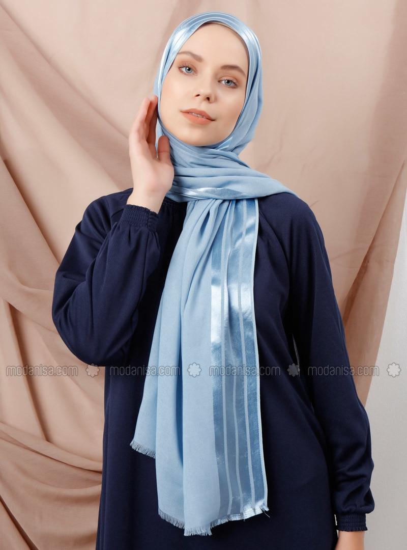 Blue - Striped - Viscose - Shawl