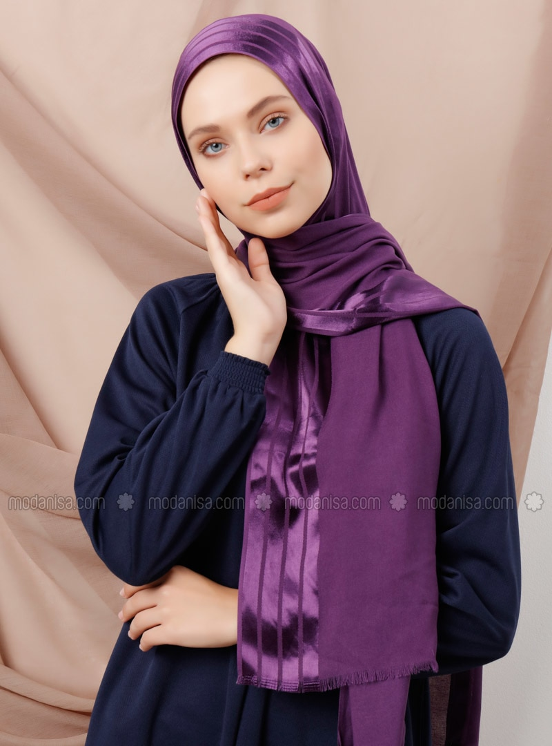 Purple - Striped - Viscose - Shawl