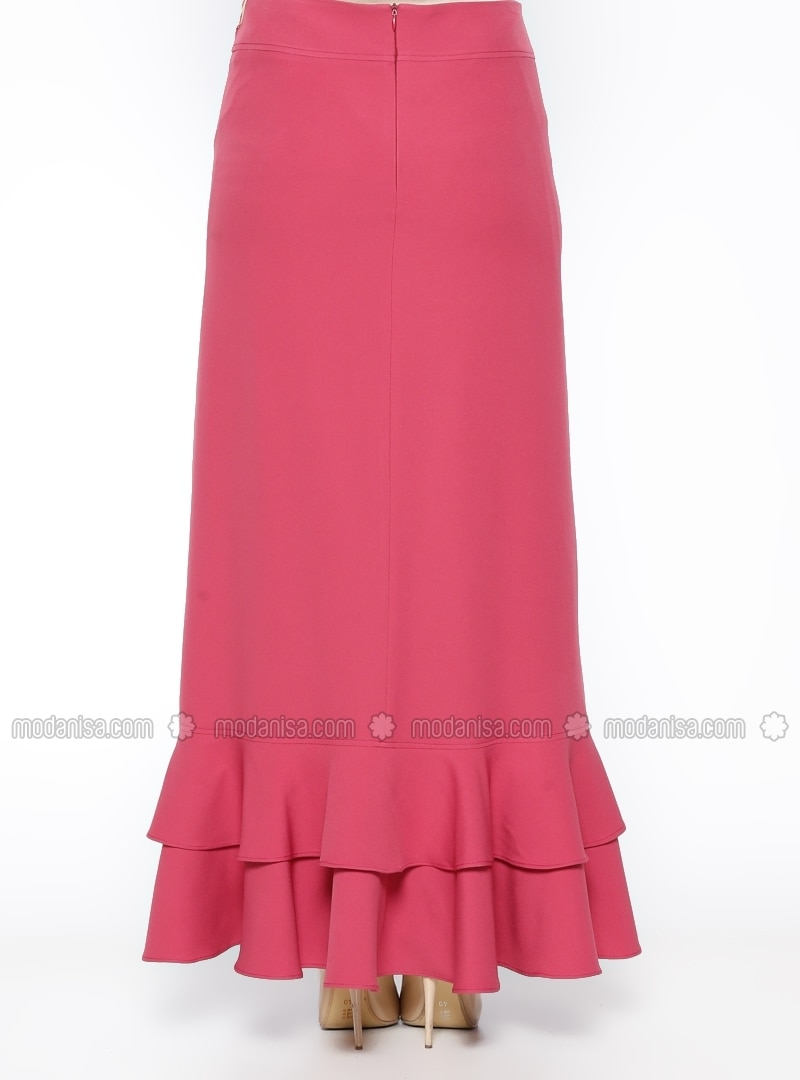pink fully lined skirt sevilay giyim