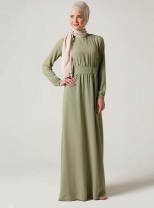 Beli Büzgülü Elbise - Yağ Yeşili