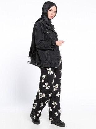 Beli Lastikli Pantolon - Siyah Beyaz