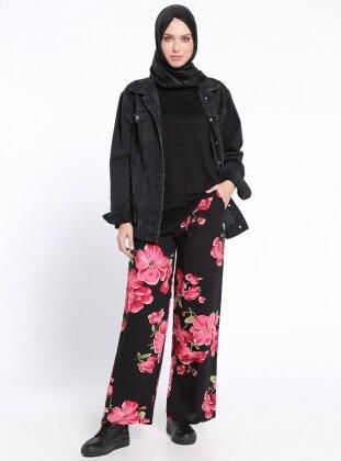 Beli Lastikli Pantolon - Siyah Fuşya