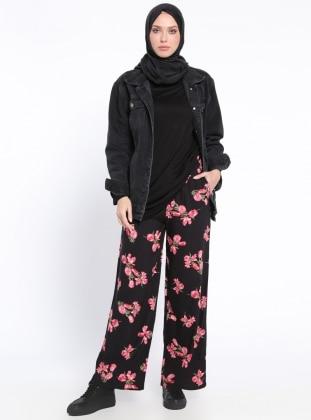 Beli Lastikli Pantolon - Siyah Mercan