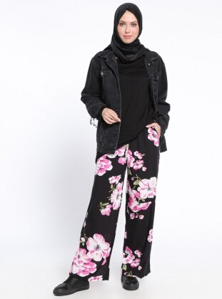 Beli Lastikli Pantolon - Siyah Pembe