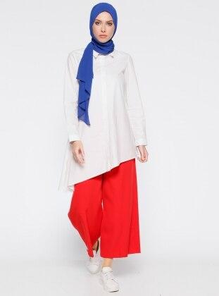 Bol Paça Pantolon - Kırmızı Belle Belemir
