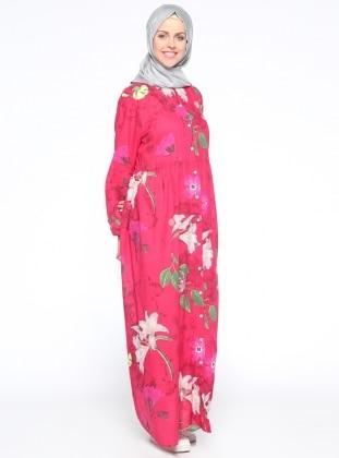 Boydan Düğmeli Elbise - Fuşya
