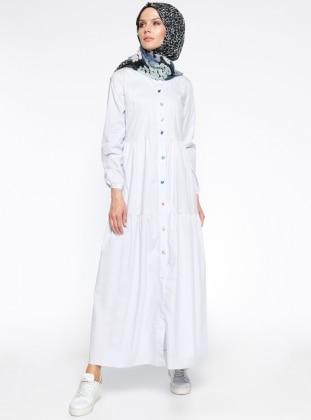 Boydan Düğmeli Elbise - Bebe Mavisi