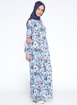 Boydan Düğmeli Elbise - Mavi