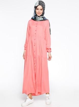 Boydan Düğmeli Elbise - Somon
