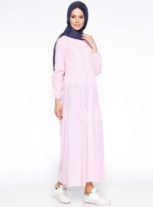 Meryem Acar Boydan Düğmeli Elbise - Pembe Beyaz