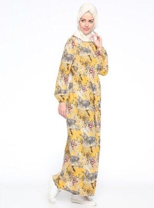 Boydan Düğmeli Elbise - Sarı