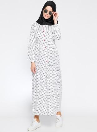 Boydan Düğmeli Elbise - Siyah Beyaz