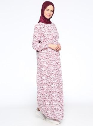 Boydan Düğmeli Elbise - Vişne