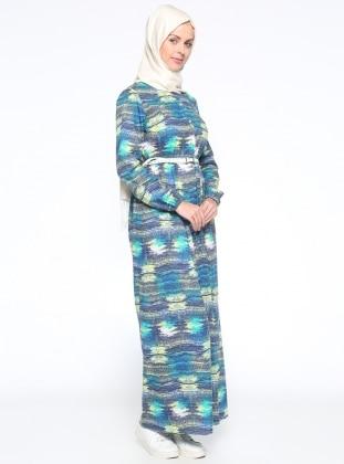 Boydan Düğmeli Elbise - Yeşil