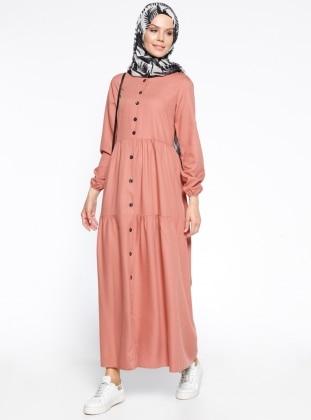 Boydan Düğmeli Elbise - Koyu Pudra