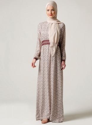 Çiçek Desenli Elbise - Bej