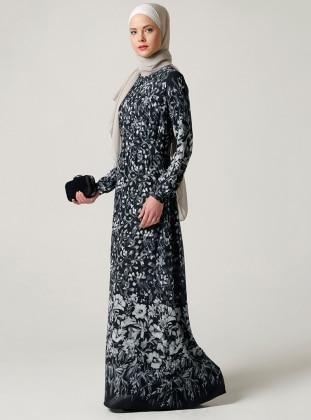 Çiçek Desenli Elbise - Siyah - Milda Store Ürün Resmi