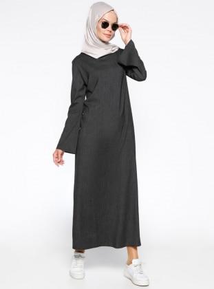 Çizgili Elbise - Siyah Beyaz