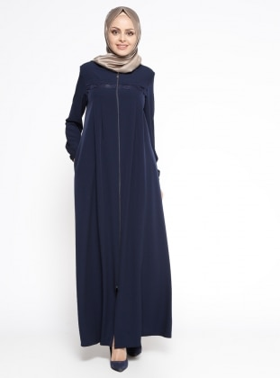 Navy Blue - Unlined - Crew neck - Abaya - Miss Cazibe