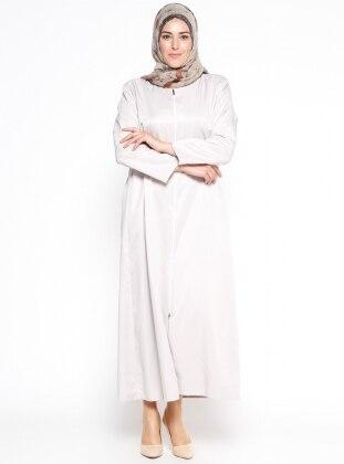 Beige – Crew Neck – Fully Lined – Plus Size Abaya – Pardes?? D??Nyasi