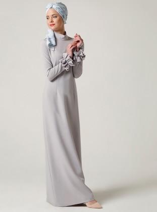 Fırfırlı Elbise - Taş