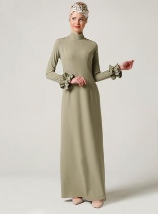 Milda Store Fırfırlı Elbise - Yağ Yeşili