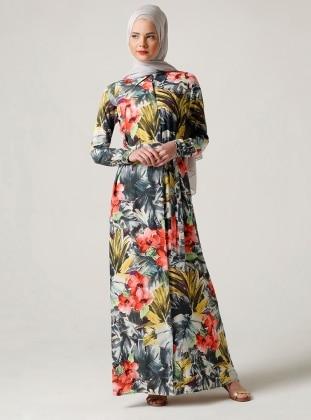 Gömlek Elbise - Nar Çiçeği