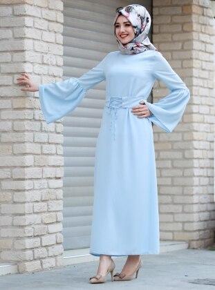 Kuşaklı Elbise - Bebe Mavi Gamze Özkul