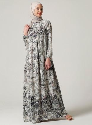 Önü Büzgülü Elbise - Haki Ebru