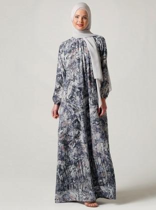 Önü Büzgülü Elbise - Lacivert Ebru