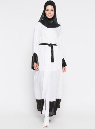 Salaş Abaya - Gri Siyah Meryem Acar