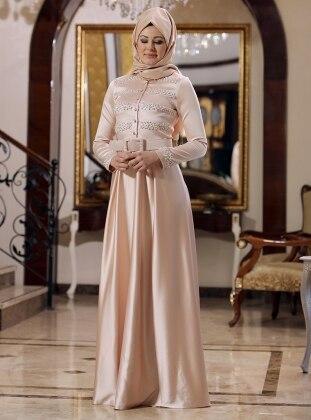 Soft Abiye Elbise - Pudra