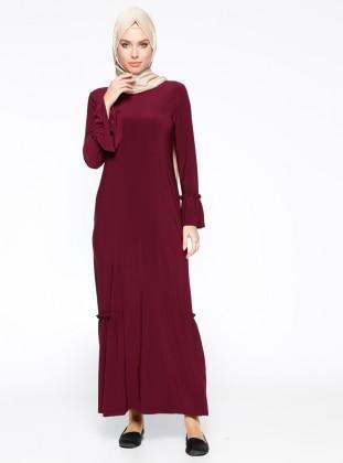Volanlı Elbise - Vişne Belle Belemir