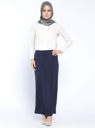 Navy Blue - Unlined - Skirt - İLMEK TRİKO