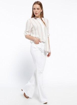 Bol Paça Kot Pantolon - Beyaz