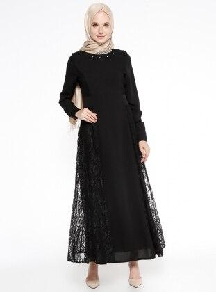 Dantelli Abiye Elbise - Siyah Nihan