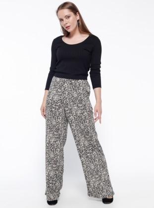 Desenli Pantolon - Siyah Bej Koton