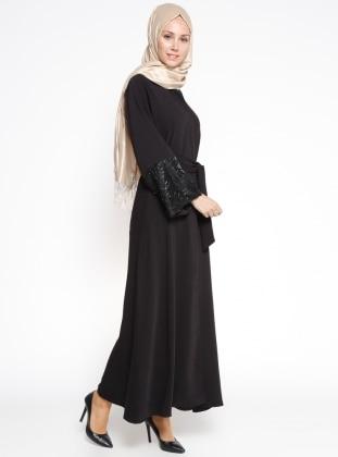 Kol Detaylı Abaya - Siyah