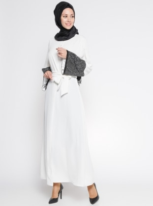 Kolları Payetli Abaya - Ekru Siyah