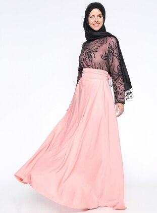 Simli Abiye Elbise - Pembe Siyah