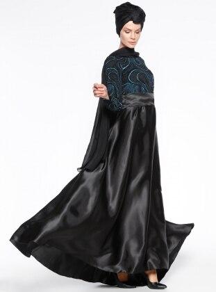 Meryem Acar Simli Abiye Elbise - Siyah Turkuaz