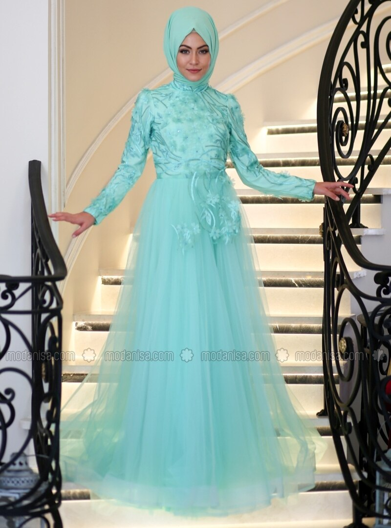 60576b8e6a4 Mint - Crew neck - Fully Lined - Muslim Evening Dress