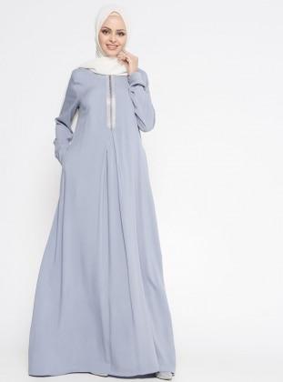 Ginezza Drop Baskılı Elbise - Gri