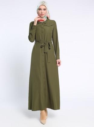 Düğmeli Elbise - Haki